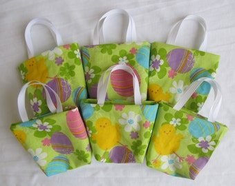 Set of 6 Easter Fabric Gift Bags/ Party Favor Bags/ Easter Goody Bags- Eggs and Baby Chicks