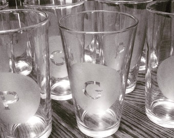 Monogrammed etched pint glass