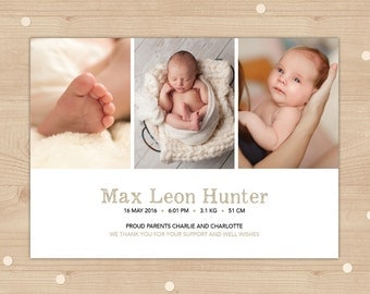 Baby Girl or Boy Birth Announcement (Digital File) - I customise for you to print. Simple and clean design. Customised for you with Photo.