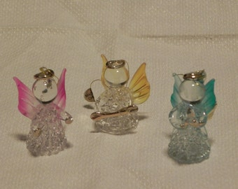 Set of 3 Glass Angel Ornaments