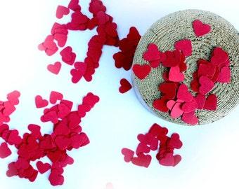 Red Paper Hearts Confetti, Wedding Heart Confetti, Love Confetti, Heart Die Cuts, Wedding Decoration, Valentine Day confetti