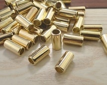 Tube Beads Link,Gold Charm Holder Spacer Bail Link,CCB Material Spacer Bead,Gold Hole CCB Jewelry Beads