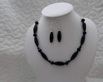 Black Necklace & Earrings