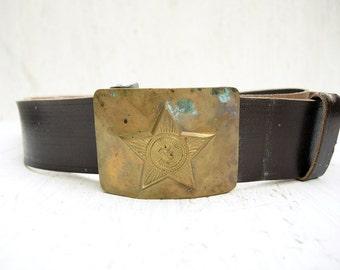 Vintage Military Belt with brass Buckle - Soviet Army Belt - Soviet Military Belt