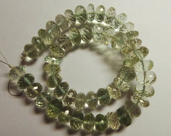 Excelusive Fine Quality Natural Green Amethyst 9-10 MM Faceted Rondelle Beads 12 Inch Strand