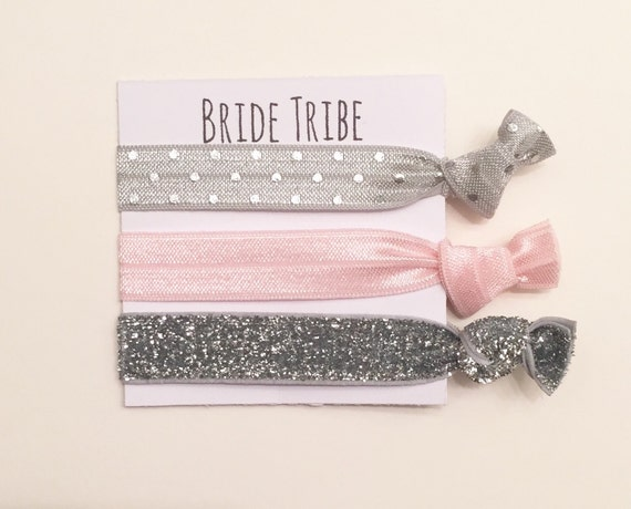 Bridesmaid hair tie favors//bridetribe grey dot ballerina pink thick sliver//hair tie card//party favor//bridesmaid gift