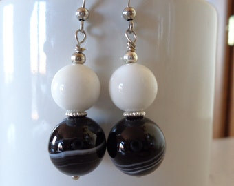 White agate earrings, black agate earrings, dangle earrings, black and white earrings, stone bead earrings, modern earrings, My special gift