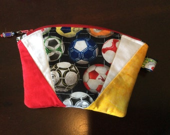 Quilted Zippered Cosmetic Bag - Soccer Balls