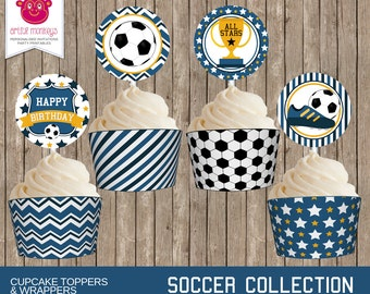 Printable Soccer Cupcake Toppers and Wrappers