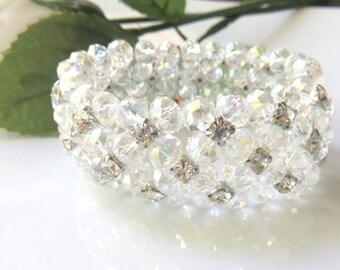 Crystal Cuff Bracelet, Crystal Bridal Stretch Bracelet, Rhinestone and Clear Crystals, Fancy Fashion Jewelry, For the Bride