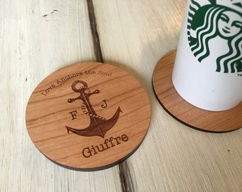 Nautical Anchor Coasters   Wood Coasters   Engagement   Anniversary   Best Friend   Personalized Wedding   Housewarming   Wooden Coasters