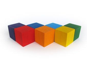"Wooden Blocks - Rainbow Blocks - Organic Wooden Toddler Toys - Waldorf Toy - Play Building Blocks - Baby Blocks - 1.5"" set of SEVEN"