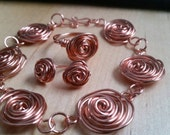 Wire wrapped rose bracelet FREE matching earrings silver plated or copperideal mothers day present