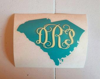 Monogram  South Carolina Decal, South Carolina Monogram Decal, Mongrammed Decal, South Carolina Decal, South Carolina State Decal, SC Decal