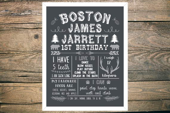 Personalised First/1st Birthday Chalkboard - Boy - 11x14 inch - Printable - Hunting theme