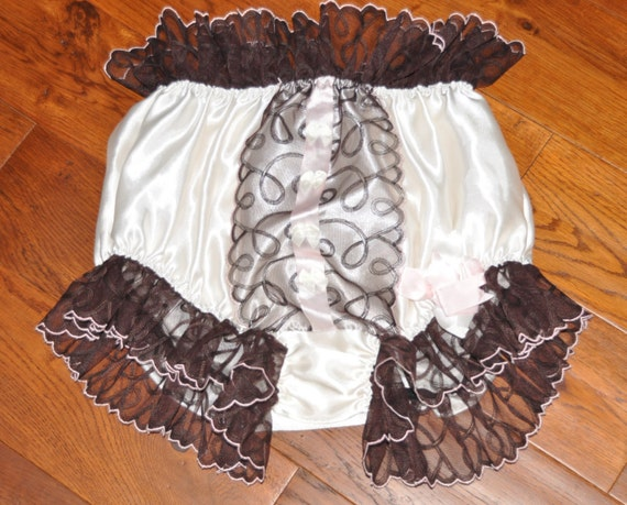 EE 39 - Soft satin panties, frilly sissy wear, adult baby nappy covers, Sissy Lingerie