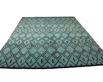 9x12 One of a kind Exotic Moroccan Berber Rug Cool Mint Blue Living Room Dining Room