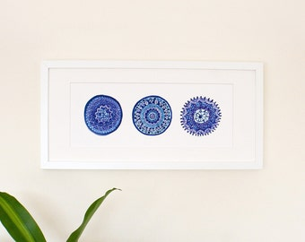 Blue & White Porto Plates Art Print on High Quality Archival Paper