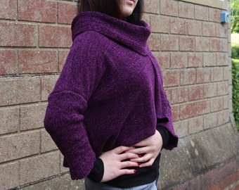 Knitted Handmade Damson Crop Sweater. Size UK 10/16. Boucle 3/4 Sleeve High Neck