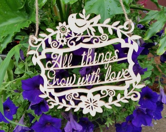 All Things Grow With Love, Gift For Grandma, Mother, Sister