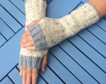 Aran fingerless gloves, wrist warmers, fingerless mittens, arm warmers, winter accessories.
