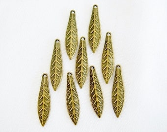 Leaf Charm, Antiqued Gold Charm, Brass Leaf, Tribal, Rustic, 19x5mm, 14 ea, D274