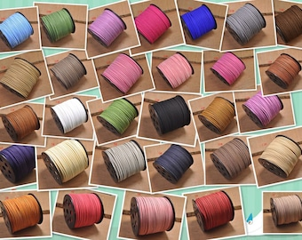 10Yards Flat Faux Suede Leather Cord,DIY Leather String Cord Supplies,Faux Suede Lace,bracelet cord,necklace cord,Vegan Suede Cord,50 colors