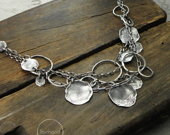 100% Ag  - necklace, raw sterling silver necklace