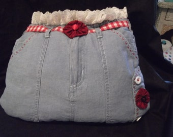NEW Handcrafted Western Blue Chambray & Lace Cowgirl Chic Pillow-1 of a Kind!