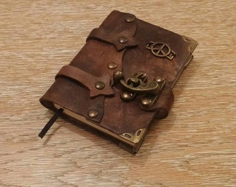 Leather Journal, Notebook or Diary with Peace - OOAK