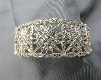 sterling silver and Marcasite cuff bracelet
