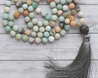 Amazonite Mala necklace /108 amazonite stones / long earth necklace / Hand knotted 108 Amazonite beads with agate and grey tassel