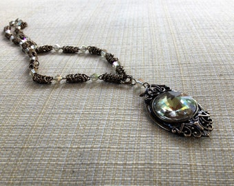 Brass and yellow crystal chainmale necklace