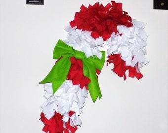Candy cane rag wreath
