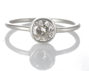 Diamond engagement ring | 0.57 round diamond | platinum | Handmade | stacking ring | reclaimed