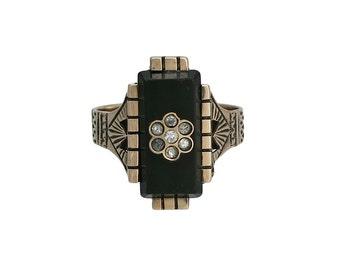 Victorian 14K Gold Onyx Diamond Ring