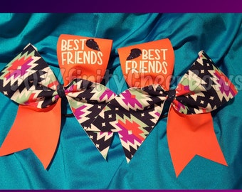Best Friends Bows Coral Tribal- Set of 2 Bows