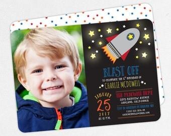 Space Birthday Invitation, Photo Birthday Invitation PDF, Printable Birthday Invitation, Printed Invite, Outer Space, Rocket Ship, Blast Off