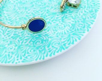 Hand Painted Jewelry Plate (Solid Mint)