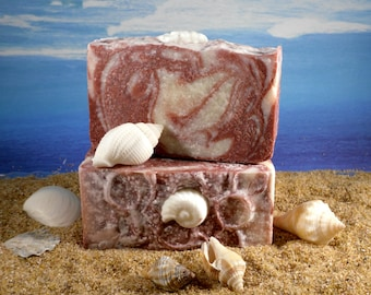 Rose Clay Sea Salt Soap  / Unscented Soap, Home Made Soap, Clay Soap, Pink Soap, Cold Process Soap, Face Soap, Mature Skin Soap, Spa Soap