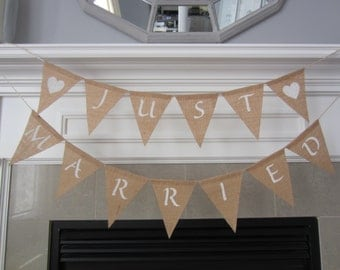 Just Married burlap banner for wedding- rustic wedding banner for wedding photos- wedding photo props