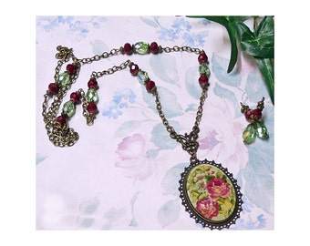 Necklace and earrings set, Red rose dome cameo, clip on or pierced