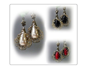 Bronzed Vintage Style pearl filigree flower drop earrings choose cream, red, black, and clip on or pierced fittings