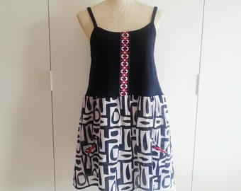 S/M Black and White Geometric Dress, Upcycled