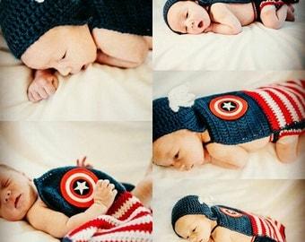 Captain America inspired superhero baby set