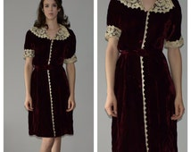 1930s Day Dress.  30s Downton Abbey, Burgundy Velvet Dress, with Lace Trim. Xs-Sm. *FREE SHIPPING*