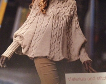 Ladies Cable Poncho Knitting Pattern ( S, M, L, XXL)
