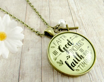 """Christian Necklace Faith in God Includes Faith in His Timing Vintage Style 1.20"""" Bronze Pendant God Jewelry Gift for Her Cross Charm"""