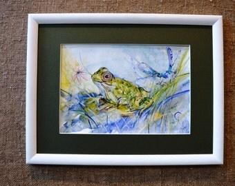 Art Watercolor original frog