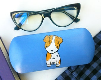 Cute puppy - Glasses cases hard - Puppy Art - Hand-painted - Gift for girlfriend - Cute gift
